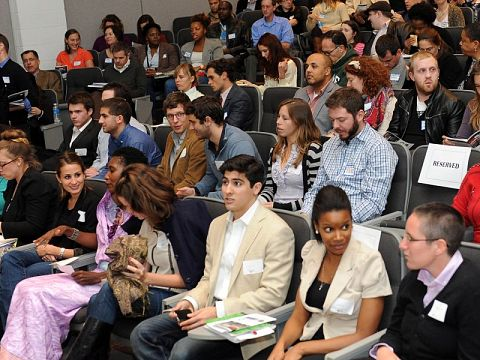 A packed house at Community Solutions, the kickoff event of PitchNOLA held at Tulane University's Woldenberg Hall.