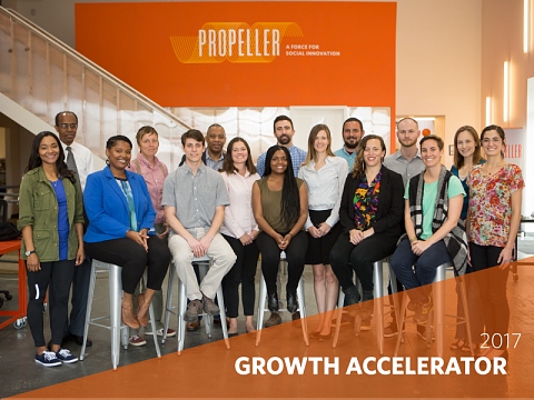 16 ventures join Propeller's Growth Accelerator, a 3-month program designed to help them maximize their financial sustainability and increase their capacity to tackle city-wide disparities in food, water, health, and education.