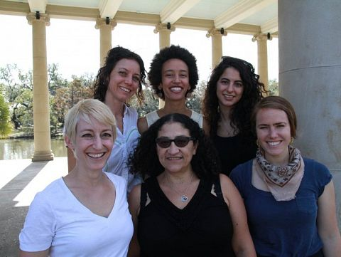 Accelerator Fellows Dana Keren, top right, and Latona Giwa, top middle, with members of Birthmark Doula Collective.